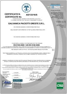 Certificate n° AS/133/16/S IS IN COMPLIANCE WITH THE STANDARD EN 9100:2009 / UNI EN 9100:2009