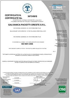 Certificate n° 3673/00/S IS IN COMPLIANCE WITH THE STANDARD ISO 9001:2008