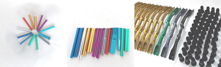 Examples of colored anodizing in civilian applications with aesthetic requirement